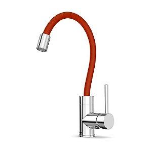 Monocomando Cozinha Mesa, Bica Flexível, Vermelho Incepa Colors Cromado