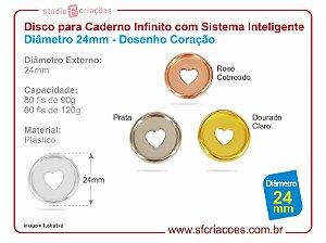 Disco para Caderno Infinito com Sistema Inteligente Diâmetro 24mm - Desenho Coração - Cores Metalicas