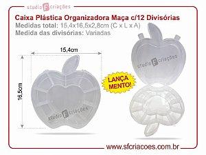 Caixa Plastica Organizadora - Formato de Maça c/ 12 Divisórias