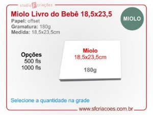 Miolo Livro ou Album do Bebe PV/LC - 18,5x23,5cm