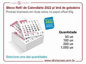 Refil Bloco de Calendário 4,4x5,0 cm - 2022 para Ímã de Geladeira
