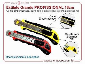Estilete Grande PROFISSIONAL 18cm - Cabo emborrachado, trava automática e 2 lâminas refil