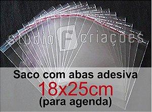100 Saco Plastico 18x25 com aba adesiva (agenda)