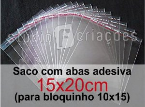 100 Saco Plastico 15x20 com aba adesiva (bloquinho 10x15)