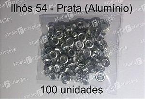 100 Ilhos 54 cor prata (aluminio)
