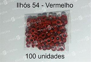 100 Ilhos 54 cor vermelha