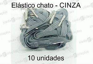 10 Elástico CHATO cinza com terminal para agenda (medida 23cm)