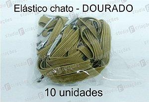 10 Elástico CHATO dourado com terminal para agenda (medida 23cm)