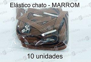 10 Elástico CHATO marrom com terminal para agenda (medida 23cm)