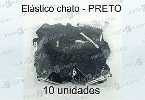 10 Elástico CHATO preto com terminal para agenda (medida 23cm)