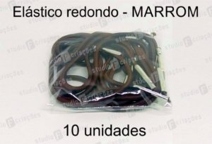 10 Elástico REDONDO marrom com terminal para agenda (medida 23cm)