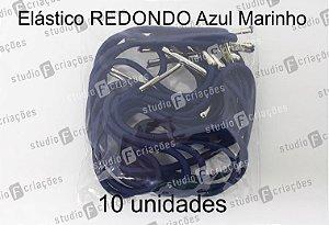 10 Elástico REDONDO azul marinho com terminal para agenda (medida 23cm)