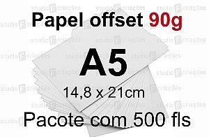 500 fls papel offset - tamanho A5 - 90g