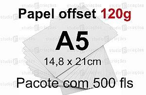 500 fls papel offset - tamanho A5 - 120g