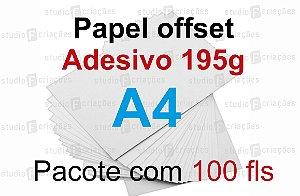 100 fls papel offset adesivo - tamanho A4