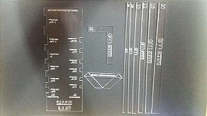 Kit gabaritos e esquadros (9 peças)