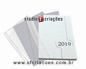 """05 Kit Agenda Executiva 2019 (miolo + papelão + bolsa canguru + wire-o 2x1 1"""")"""