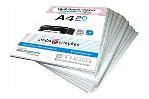Vinil A4 branco fosco 135g para jato de tinta - pacote 20 fls (RESISTENTE À ÁGUA)