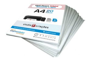 Vinil A4 semi-transparente 135g para jato de tinta - pacote 20 fls (RESISTENTE À ÁGUA)