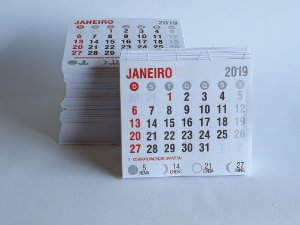 100 Bloco Refil Mini Calendario 2019