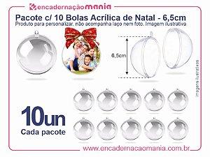 Pacote c/ 10 Bolas Acrilicas 6,5cm p/ Personalizar