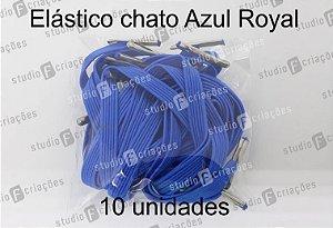 10 Elástico CHATO azul royal com terminal para agenda (medida 23cm)