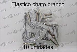 10 Elástico CHATO branco com terminal para agenda (medida 23cm)