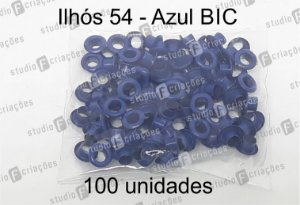 100 Ilhos 54 cor azul BIC