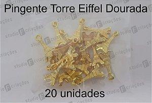 20 Pingente Torre Eiffel Dourada 2x0,8cm (pacote com 20 unidades)