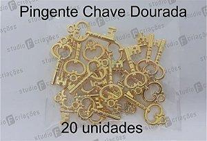 20 Pingente Chave Dourada 2x1,5cm (pacote com 20 unidades)