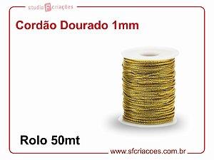 Cordao Dourado Metalico 1mm