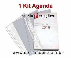 """01 Kit Agenda Executiva 2019 SEM MAPA (miolo + papelão + bolsa canguru + wire-o 2x1 1"""")"""