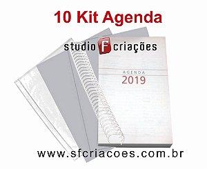 """10 Kit Agenda Executiva 2019 SEM MAPA (miolo + papelão + bolsa canguru + wire-o 2x1 1"""")"""