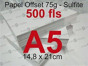 Miolo papel offset - tamanho A5 - 75g