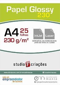 Papel fotográfico A4 glossy 230g - pacote 25 fls
