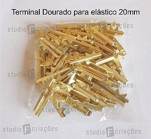 Terminal DOURADO para Elastico 20mm - 100 UNIDADES