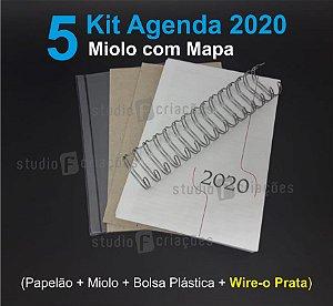 """05 Kit Agenda Executiva 2020 com mapa (miolo + papelão + bolsa canguru + wire-o PRATA 2x1 1"""")"""