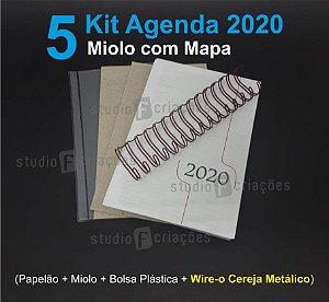 """05 Kit Agenda Executiva 2020 com mapa (miolo + papelão + bolsa canguru + wire-o CEREJA METALICO 2x1 1"""")"""