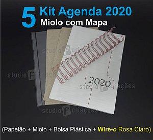 """05 Kit Agenda Executiva 2020 com mapa (miolo + papelão + bolsa canguru + wire-o ROSA CLARO 2x1 1"""")"""