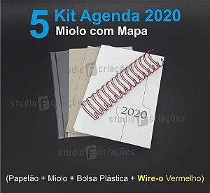 """05 Kit Agenda Executiva 2020 com mapa (miolo + papelão + bolsa canguru + wire-o VERMELHO 2x1 1"""")"""