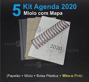 """05 Kit Agenda Executiva 2020 com mapa (miolo + papelão + bolsa canguru + wire-o PINK 2x1 1"""")"""