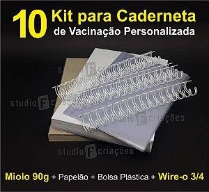 10 Kit Insumos Caderneta 90g (papelao com abas e wire-o 3/4)