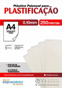 05 fls Plastico para Polaseal A4 para plastificacao 0,10 mm - 250 micra