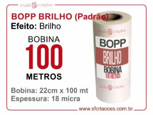 Bobina BOPP Brilho 22cm x 100 metros