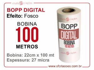 Bobina BOPP DIGITAL FOSCO 22cm x 100 metros
