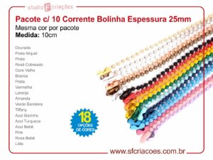 01 pct c/ 10un - Corrente bolinha - Colorida