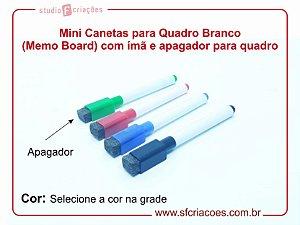 Mini Canetas para Quadro Branco (Memo Board) com ímã e apagador