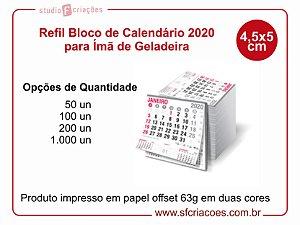Refil Bloco de Calendário 2020 para Ímã de Geladeira