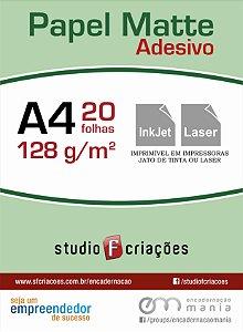 Papel fotográfico A4 matte adesivo 128g - pacote 20 fls