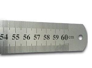 Régua Inox 60 cm - Centímetros e Polegadas